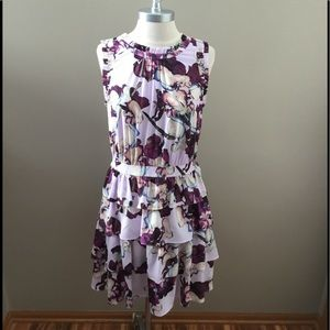 New Banana Republic Purple Floral Pattern Dress